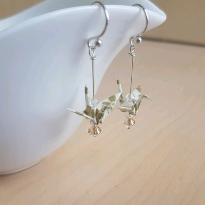 Origami Crane Earrings - Ivory