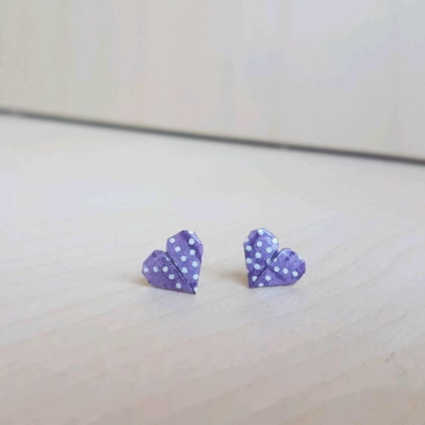 Origami Heart Stud Earrings ~ Ai #04