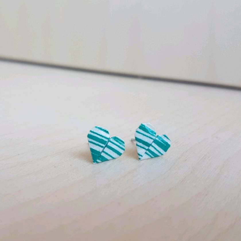 Origami Heart Stud Earrings ~ Ai #05