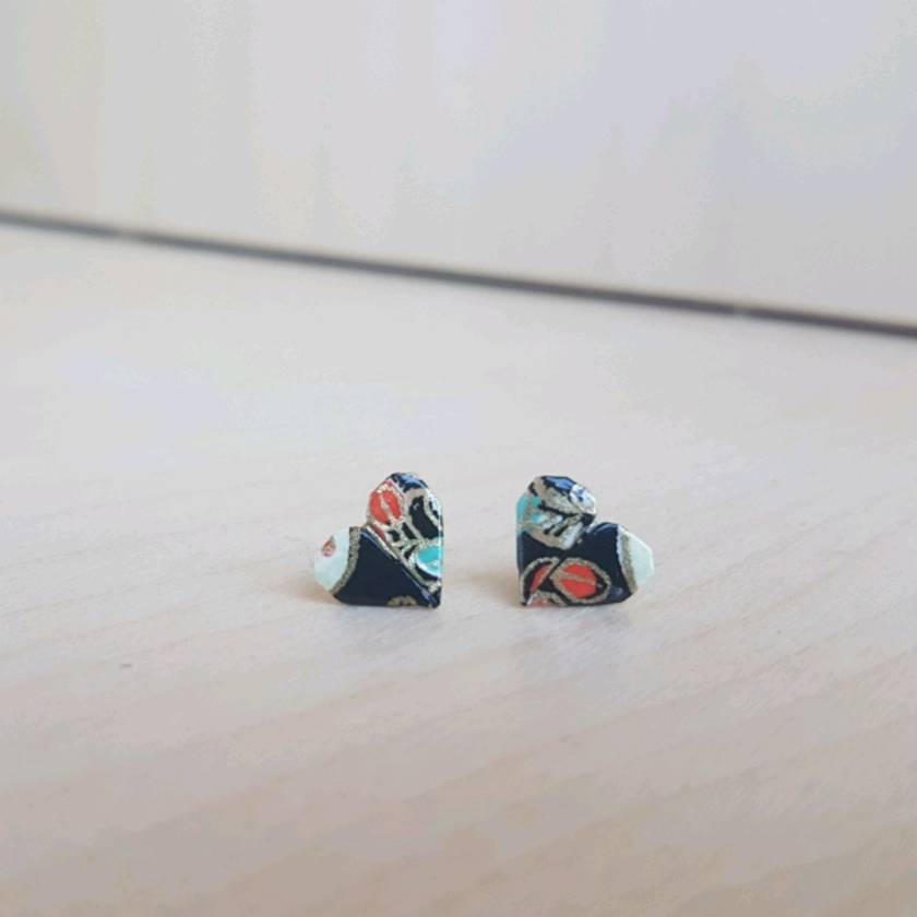 Origami Heart Stud Earrings ~ Ai #09