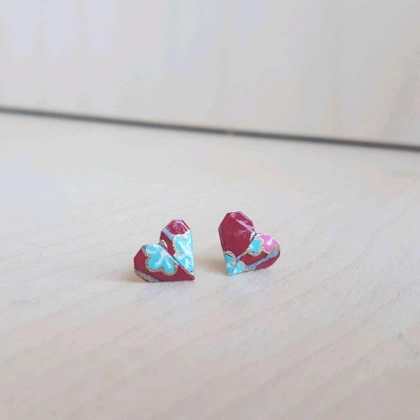 Origami Heart Stud Earrings ~ Ai #12