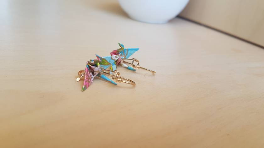 Origami Crane Earrings - Champagne I