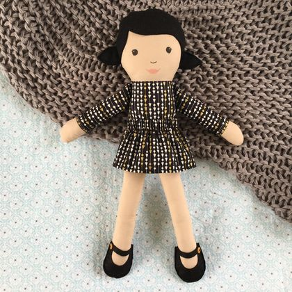 Handmade Rag Doll- Black and Gold Print