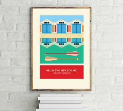 BECAUSE IT'S OARSOME – illustration.  A4 print Wellington New Zealand series.