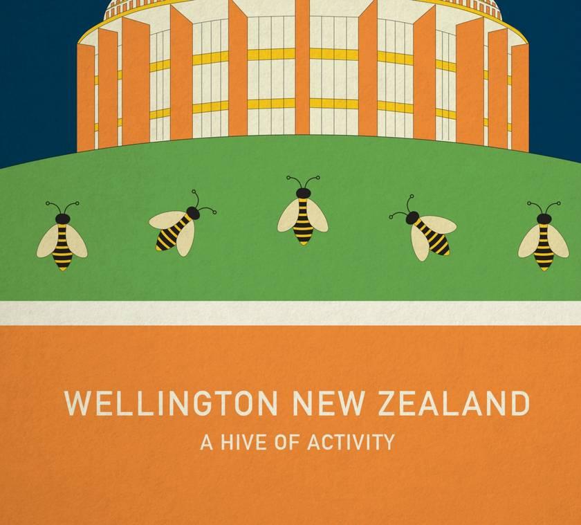 A HIVE OF ACTIVITY – illustration. A4 print Wellington New Zealand series.