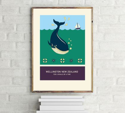FOR A WHALE OF A TIME – illustration. A4 print Wellington New Zealand series.