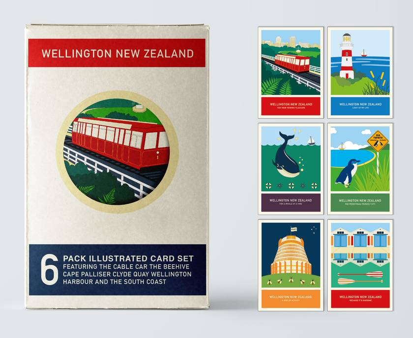 6 card gift pack of A6 greeting cards with craft envelopes – Wellington New Zealand series illustration.