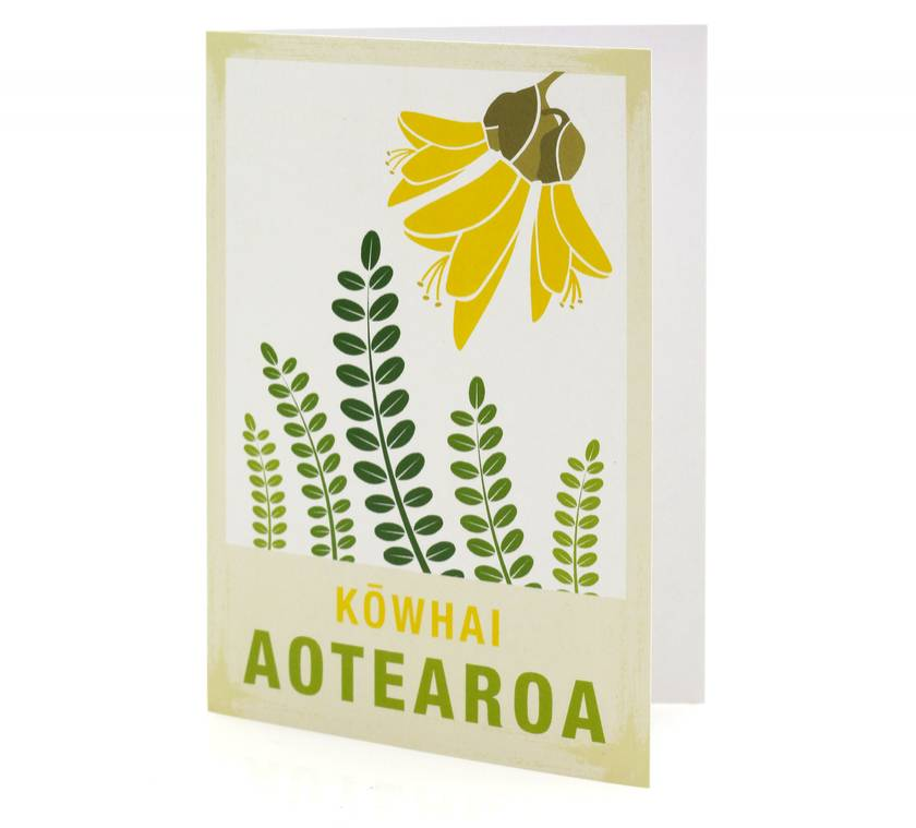 Kowhai illustration. A6 Card New Zealand native flower series.