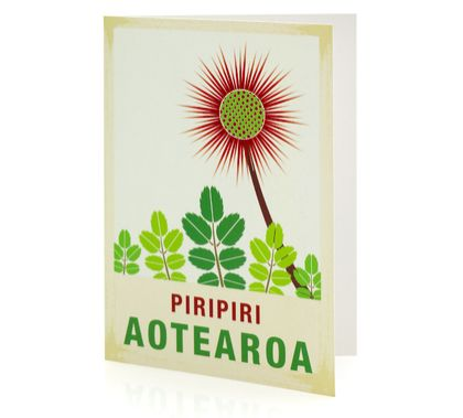 Piripiri illustration. A6 card with envelope – New Zealand native flower series.