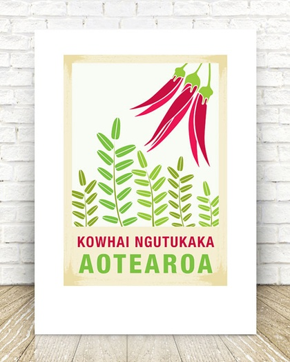 Kowhai Ngutukaka illustration. A4 print New Zealand native flower series.