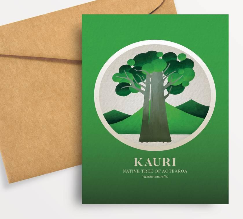 Kauri illustration in gouache – Native Trees of Aotearoa series.
