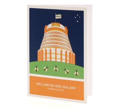 A hive of activity A6 greeting card – Wellington New Zealand series