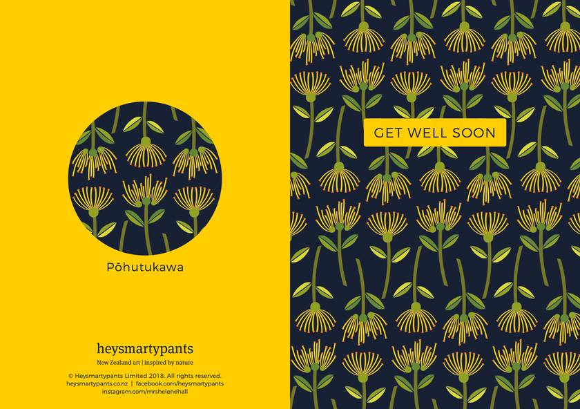 Get Well Soon – A6 Greeting Card, NZ Flora and Fauna