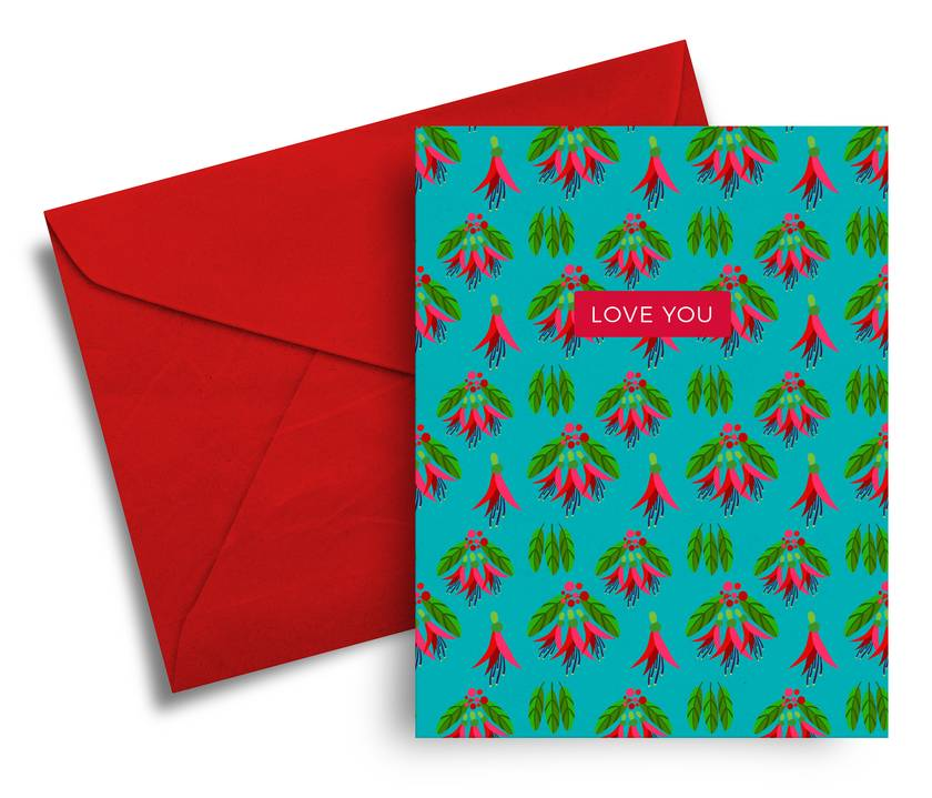 Love you – A6 Greeting Card, NZ Flora and Fauna