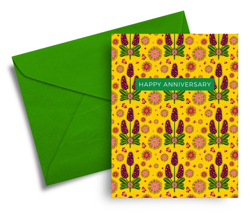 Happy Anniversary – A6 Greeting Card, NZ Flora and Fauna