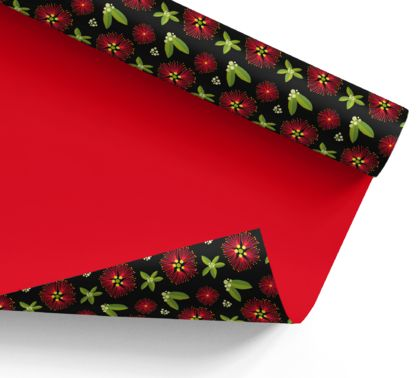 Wrapping Paper – Pohutukawa (red): NZ Flora and Fauna
