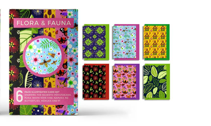 Gift pack of 6 greeting cards with coloured envelopes – New Zealand Flora and Fauna