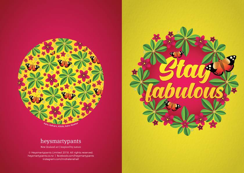 Stay fabulous – A6 NZ Flora and Fauna Occasion Greeting Card