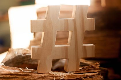 # - Hashtag - Wooden character