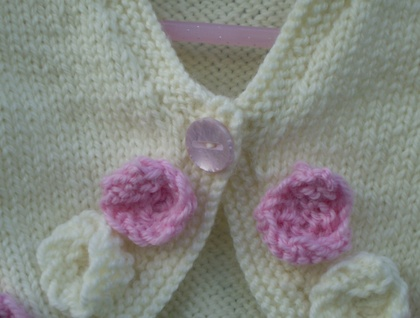 Sweet little roses cream and pink cardy