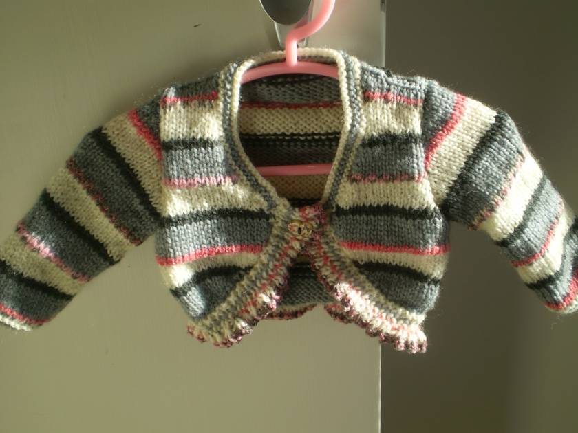 Cream, pink, charcoal and grey ballerina cardy & beanie