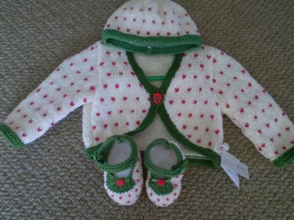Strawberry Cardy, Beanie and Bootee Set