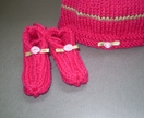 Cerise and green stripe beanie & bootee set