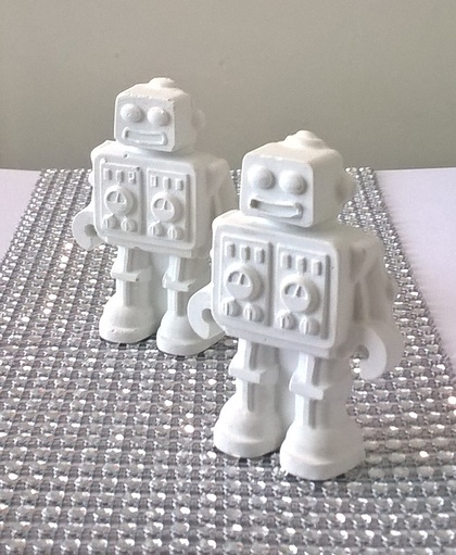 Decorative White  Concrete Robots
