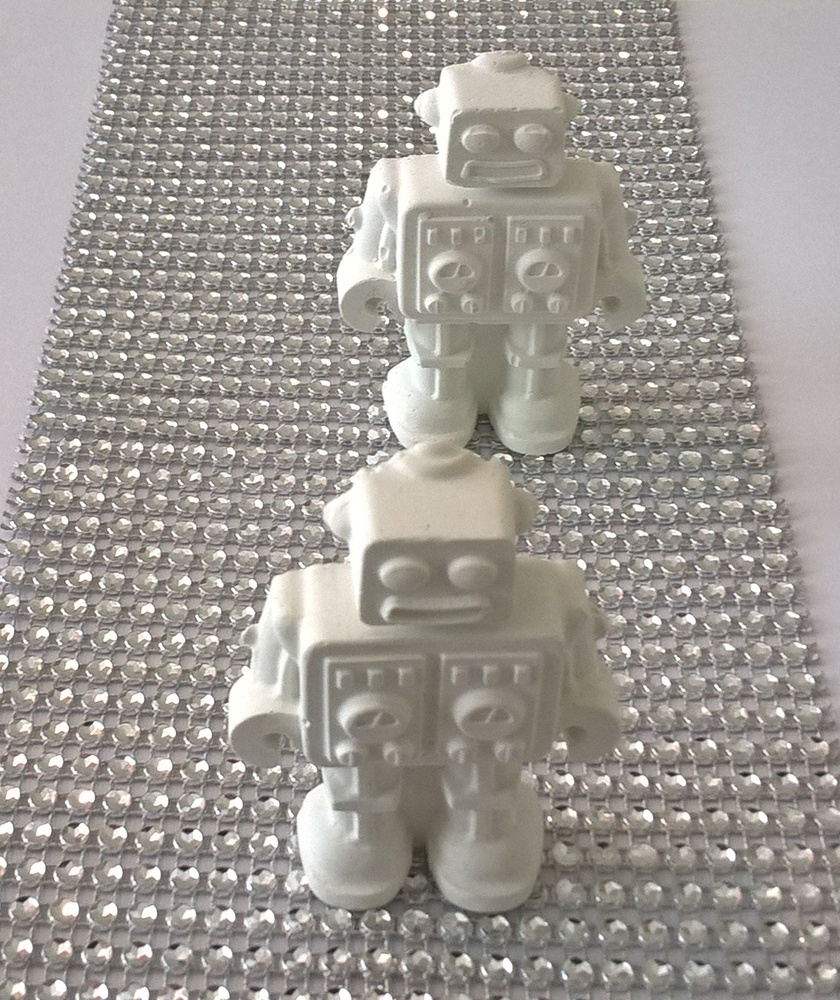 Decorative White  Concrete Robots