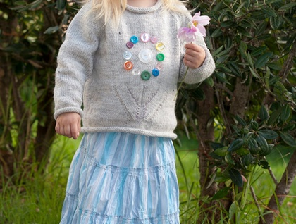 Hundreds and Thousands - Girls Vintage Flower Sweater Pattern by Little Cupcakes - lisaFdesign LF07