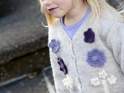 Berry Crumble - Appliquéd Flower Cardigan by lisaFdesign- LF10