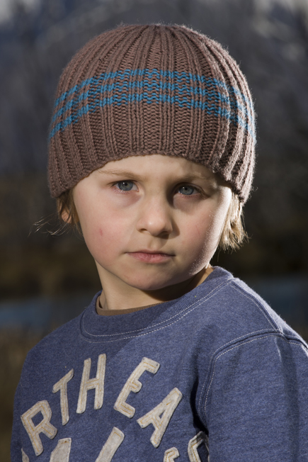 Knitting Pattern - Boys Stripe Rib Hat Felt
