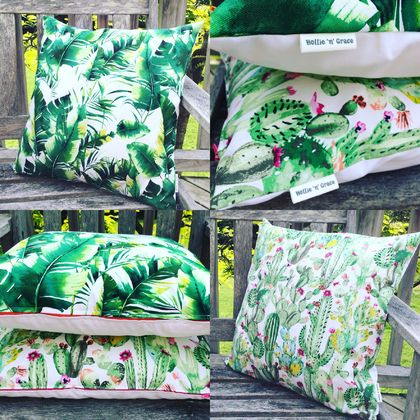 So fresh!!!!!!! Cactus and banana leaf cushion covers. (plain black OR white backing available).