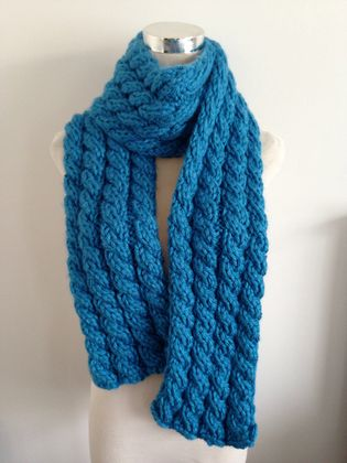 Keep Toasty Warm This Winter in this Hand knitted Cable Scarf