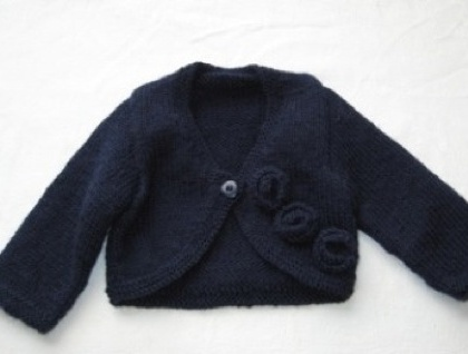 Beautiful Rose Cardigan.... 100% Pure Wool... 0-6 months