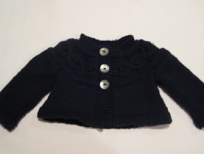 Beautiful Pure Wool Cabled Cardigan 1-2 years