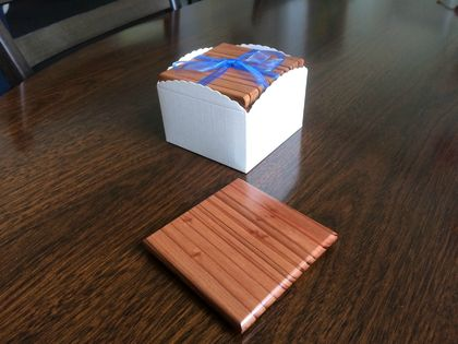 NZ Recycled Redwood Wooden Coasters Set of six - Free shipping within NZ