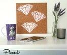 Diamond design pinboard, hand painted cork board