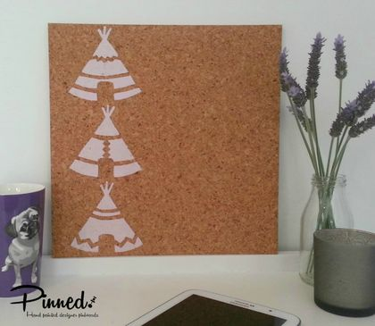 Teepee design pinboard, hand painted cork board