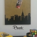 Skyline design pinboard, hand painted cork board