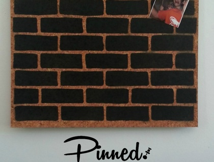 Brick design pinboard, hand painted cork board