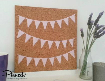 Bunting flag design pinboard, hand painted cork board