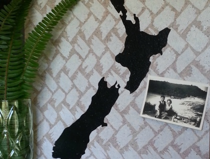 New Zealand map pinboard, hand painted cork board