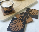 Monstera leaf coasterset, handpainted set of four coasters