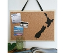 New Zealand map design pinboard, handpainted cork board