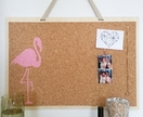 Flamingo design pinboard, handpainted cork board