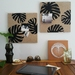Monstera leaf design pinboard, hand painted cork board