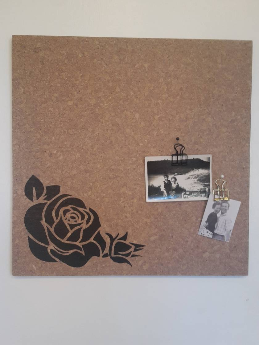 Rose design pinboard, hand painted cork board