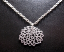Silver chrysanthemum outline necklace