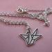 Paper crane charm necklace